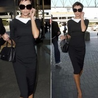 Promotion Free Shipping 2013 New Fashion Dress Victoria Beckham,Black turn-down collar Elegant dress, Three quarter sleeve
