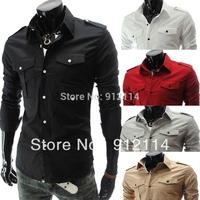 2014 shoulder board designer long sleeve shirts men More pocket casual slim fit shirts for men,freeshipping ,5-color,M-XXL,5017