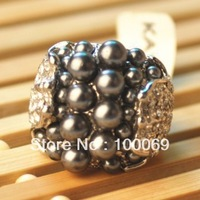 Min.order is 15 (mix order) 50% OFF Imitation Rhodium Plated Rhinestone and Pearl Finger Ring