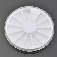 100 x White Plastic Empty Wheel Box Case For Nail Art Gems Rhinestones Storage Case Refillable Bottles+ Free Shipping