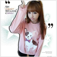 Free shipping 2013 autumn new fashion women print dog cartoon long-sleeved t-shirt, women's cotton pullover guard garments 5133