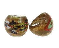 Free shipping!!!Lampwork Finger Ring,Women Jewelry, gold sand, mixed colors, 29x27x23mm, Hole:Approx 18mm, Size:8, 12PCs/Box