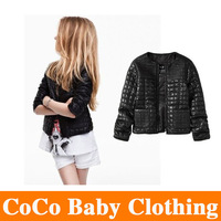 2014 New Hot selling girls PU coat children's clothing spring autumn new machine wagon girls motorcycle short jacket