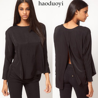 New Hot sale Womens black back cross long-sleeve shirt pullover shirt 6 full  CPAM