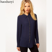 New Hot sale Womens 23 buckle metal buckle women's slim chiffon shirt Dark Blue long-sleeve turn-down collar shirt  CPAM