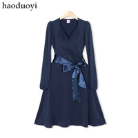 New Hot sale Womens blue classic V-neck noble elegant belt one-piece dress fifth sleeve 5 full  CPAM