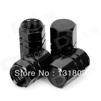 M12(12mm) Universal Fashion Car Tire Valve Caps - Black (4-Piece Pack)