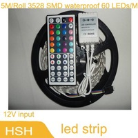 hot selling Holiday 5M/Roll 3528 SMD waterproof 60 LEDs/M Warm white / White/ RGB Flexible LED Strip, RGB with 44 keys