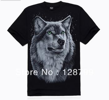 Free shipping, High Quality Man's 100% Cotton short sleeve T-shirt 3D printing. Print Animal Wolf shirt NZ07002