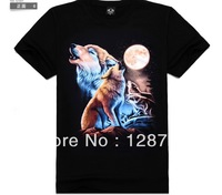 Free shipping, High Quality Man's 100% Cotton short sleeve T-shirt 3D printing. Print Animal Wolf shirt NZ07006