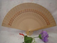 Free Shipping 100pcs chinese carved folding fragrance wood hand fans