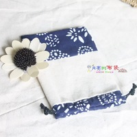 Blue patchwork hemp bags thick hemp handmade tote accessories packaging bag jewellery pouch