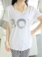 Boy letter paillette fresh loose white o-neck cotton t-shirt