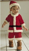 Free Shipping 3sets/lot Baby Christmas Long Sleeve Romper Suit,Infant Long Sleeve Christmas 2pcs Set (Full Romper+Top),Baby Suit