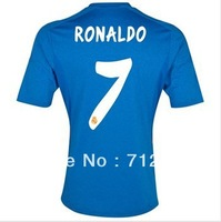 free shipping!!! 13/14 3A +++ Thailand Quality Real Madrid away Blue #7 RONALDO Soccer jersey football Jersey , Embroidered logo