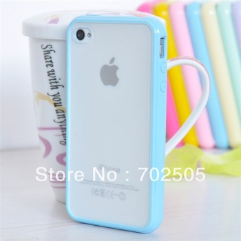 Hybrid Gummy bumper plastic +TPU  Case cover for iPhone 4 4S 4G cell phone cases 150pcs