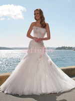 Elegant strapless lace up back crystal beaded flowers pleated organza wedding dresses