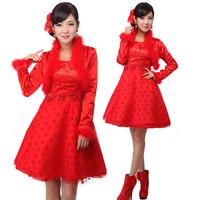 Flower bridal wear high waist formal maternity dress winter short design evening dress red tulle dress fashion puff skirt
