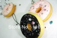 Mixed Order Stock Price Free Shipping  Kawaii Colorful Shining Doughnut  PVC Phone Charms Straps 40pcs/lot