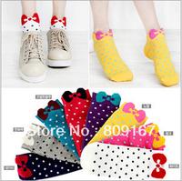 high quality cute bow socks for women dot decor lovely ladies sock cotton socks