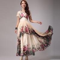 Summer fashion long design print one-piece dress bohemia chiffon jumpsuit full dress lyq10-3  Free shipping