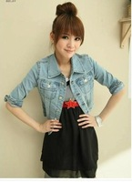 2013 all-match elegant slim half sleeve short design turn-down collar solid color denim outerwear bag