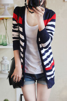 Free Shipping Women Fashion Long Sweater Stripe Shawl Shrug Knitwear Cardigan Wholesale 1Pcs/Lot Hot sale