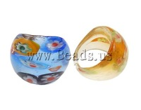Free shipping!!!Lampwork Finger Ring,clearance sale with free shipping, mixed colors, 29x28x24mm, Hole:Approx 18mm, Size:8
