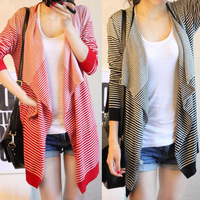 Free shipping 2013 new women's autumn and winter street style loose stripe irregular long-sleeve Knitwear Cardigan