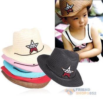 # F9s дети соломы кос ковбой вс мальчик Cap звезда аппликация тропический шлем