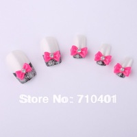 New Free Shipping Wholesale/ Nails Supply,100pcs 3D Resin Rose Bow Tie DIY Acrylic Tip UV Gel Polish Tools Nail Design/ Nail Art
