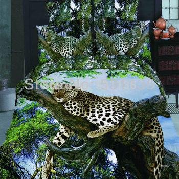 king/queen sizeDWL022 leopard animal 3D oil painting bedding set 4pc duvet/quilt/comforter/bedclothes cover bedsheet cotton