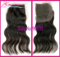 "DHL Free Shipping 4 X 4"" Brazilian Virgin Hair Lace Closure, Body Wave, Medium Brown Swiss Lace Bleached Knots"