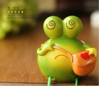 Rural household super cute green beans frog cartoon resin decoration decoration doll furnishing articles home decoration gifts