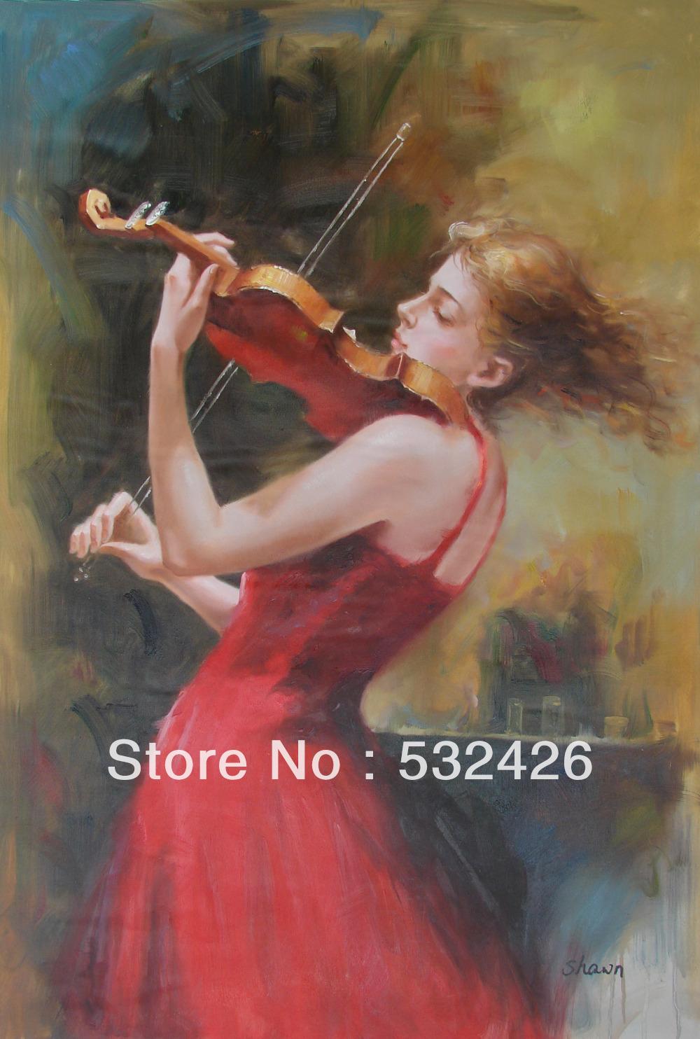 Violin-Portrait-24X36-Handpainted-Oil-Painting-on-Canvas-Wall-Art.jpg ...