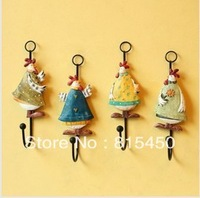 Fish smile fashion rustic hen wrought iron coat hooks