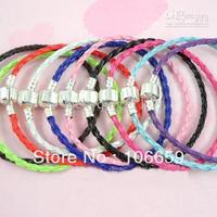Bracelets Fit European Bead Braided Leather Charm Bracelets HOT freeing 20cm 24pcs