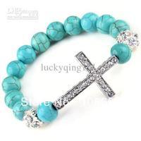 braid Sideways CROSS Bracelet turquoise CRYSTAL SKULL Maitreya Buddha Hematite New