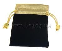 Free shipping!!!Jewelry Drawstring Bags,Designer, Velveteen, Rectangle, black, 80x100mm, 100PCs/Bag, Sold By Bag
