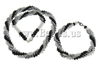 Free shipping!!!Crystal Jewelry Sets,Lovely Design, bracelet & necklace, platinum color plated, faceted & multi-strand, 8mm
