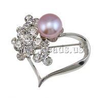 Free shipping!!!Rhinestone Brooch,Jewelry For Women, Heart, with rhinestone, silver, 33x37x17mm, 9-10mm, Sold By PC