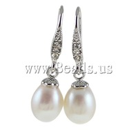 Free shipping!!!Freshwater Pearl Earrings,jewelry lot, Cultured Freshwater Pearl, with Rhinestone, white, 9-10mm, Sold By Pair