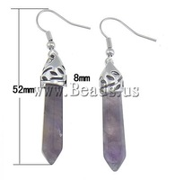 Free shipping!!! Earrings,Wedding Jewelry, Amethyst, brass hook, 8x52x8mm, Length:Approx 2 Inch, 10Pairs/Lot, Sold By Lot