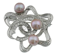 Free shipping!!!Freshwater Pearl Brooch,ethnic, Cultured Freshwater Pearl, with Brass, Flower, pink, 43x44x20mm, Sold By PC