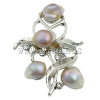 Free shipping!!!Freshwater Pearl Brooch,Hot Style, Cultured Freshwater Pearl, with Brass, Flower, purple, 37.50x54x16mm