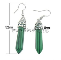 Free shipping!!! Earrings,promotion, Malachite, 8x52x8mm, Length:Approx 2 Inch, 10Pairs/Lot, Sold By Lot