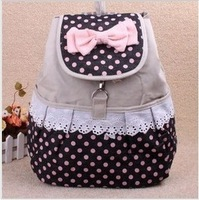 Bagpack lace bookbag canvas polka dot printing backpack children cartoon bow drawstring bag school bags for girls cute backpacks