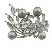 Free shipping!!!Freshwater Pearl Brooch,Newest Design, Cultured Freshwater Pearl, with Brass, Flower, pink, 48x38x17mm
