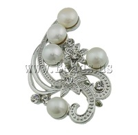 Free shipping!!!Freshwater Pearl Brooch,Cheap Jewelry, Cultured Freshwater Pearl, with Brass, Flower, white, 54.50x37x15mm