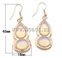 Free shipping!!!Brass Earrings,2013 new arrive mens, Sea Opal, Calabash, 16x45x6mm, Length:Approx 1.8 Inch, 10Pairs/Lot